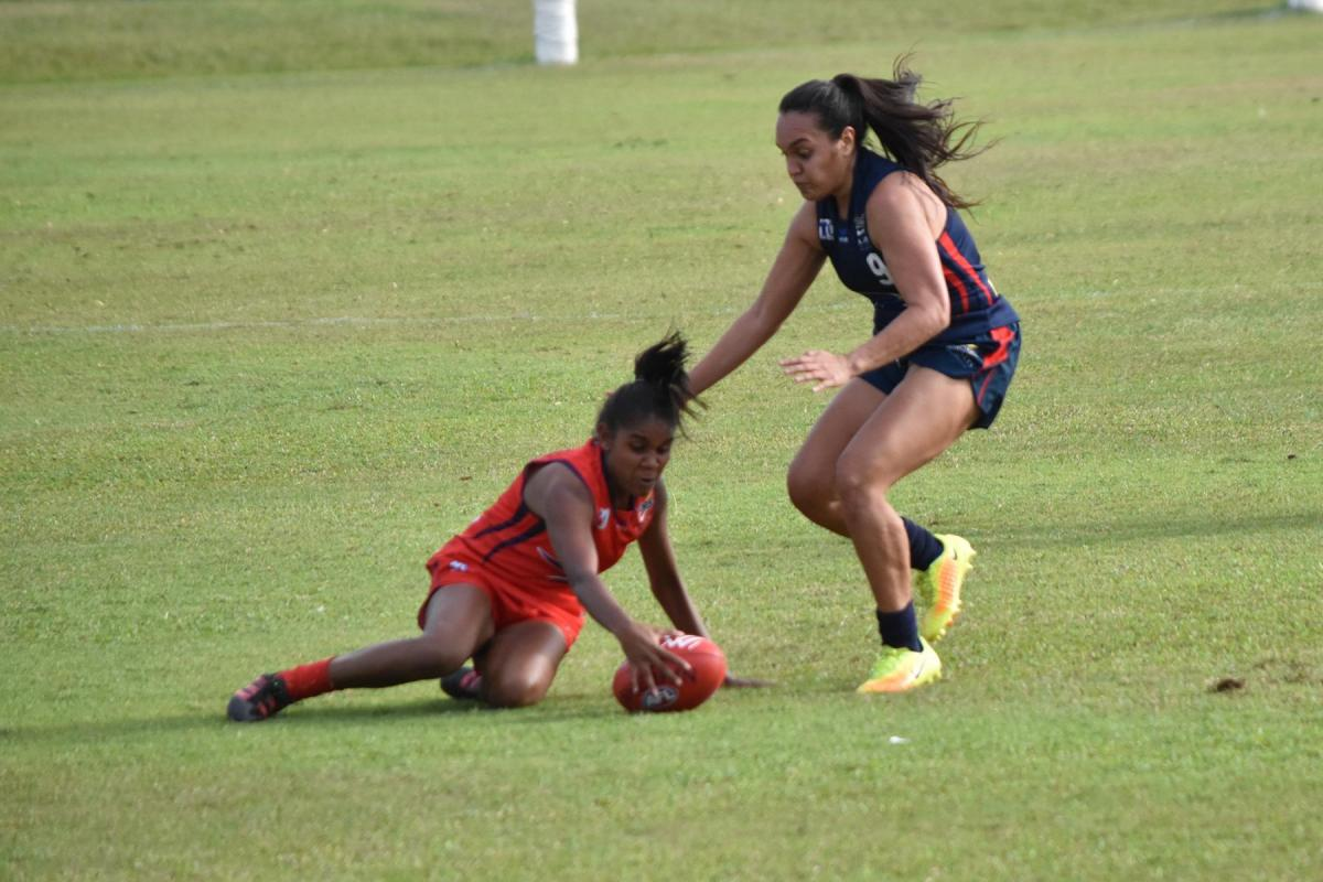 Two ladies going for the ball in the NT Women's Lightning Series