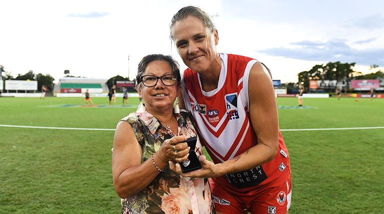 Lisa Roberts pictured with Brenda Cubillo and the Williams Medal
