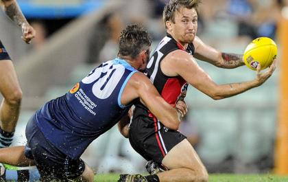 Matthew Rosier going for the handball