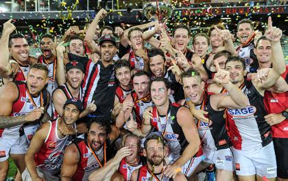 Southern Districts celebrating their Men's Premeir League Grand Final win