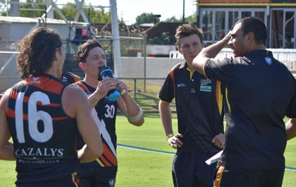 NT Thunder line coach talking to players