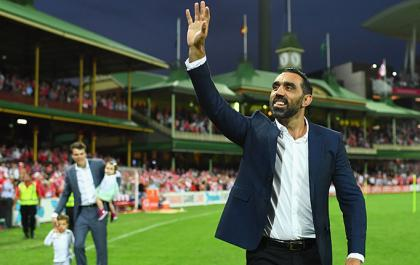 Adam Goodes says bye to footy