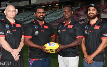 Brenton Toy, Jamie Scrymgour, Shane Tipuamantumirri and Cyril Rioli at a photoshoot at TIO Stadium