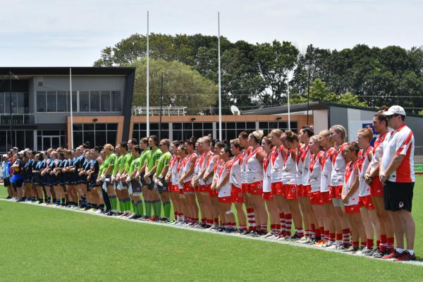 Women's Grand Final teams lining up before the kick off