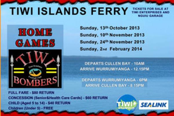 Tiwi Bombers Home Game - Ferry Service