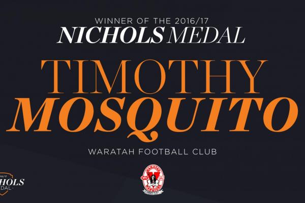 Timothy Mosquito won the 2017 Nichols Medal