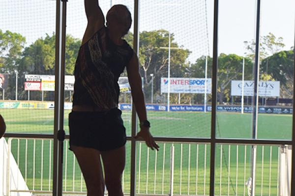 Sue Nalder in the vertical jump