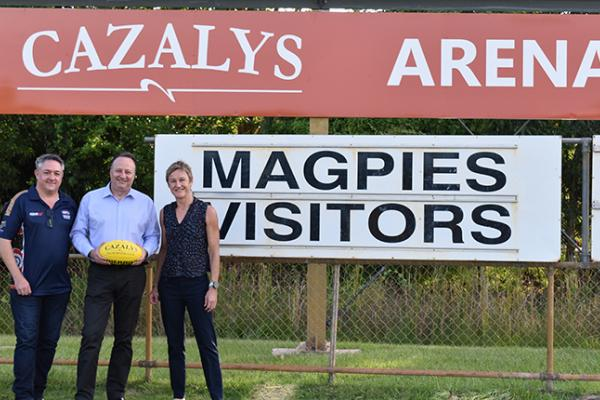 Peter Bailey, Matt Hewer and Colleen Gwynne at Cazalys Arena