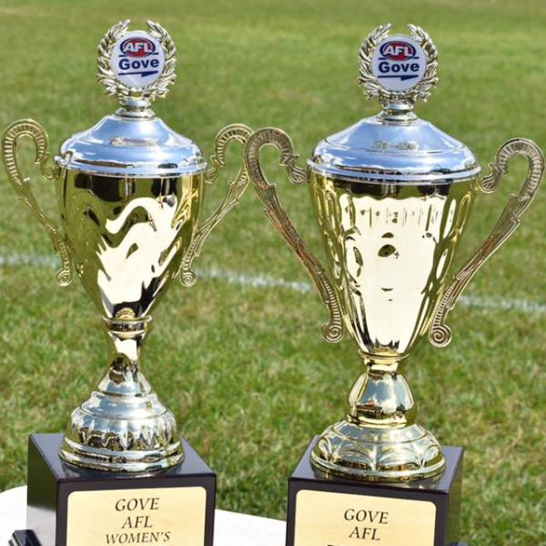 GAFL men's and women's 2017 premiership trophies