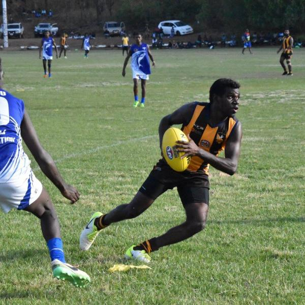 Djarrak player with the ball at the GAFL Grand Final