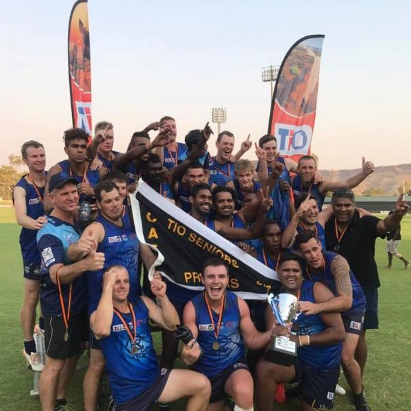 Rovers players celebrating their 2017 CAFL premiership win