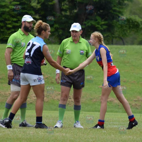 Under 18 Girls captains shaking hands before the coin toss