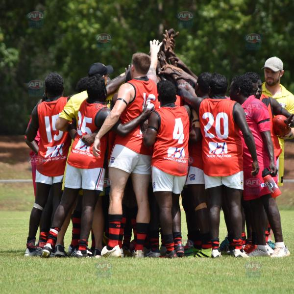 Tiwi Bombers team huddle