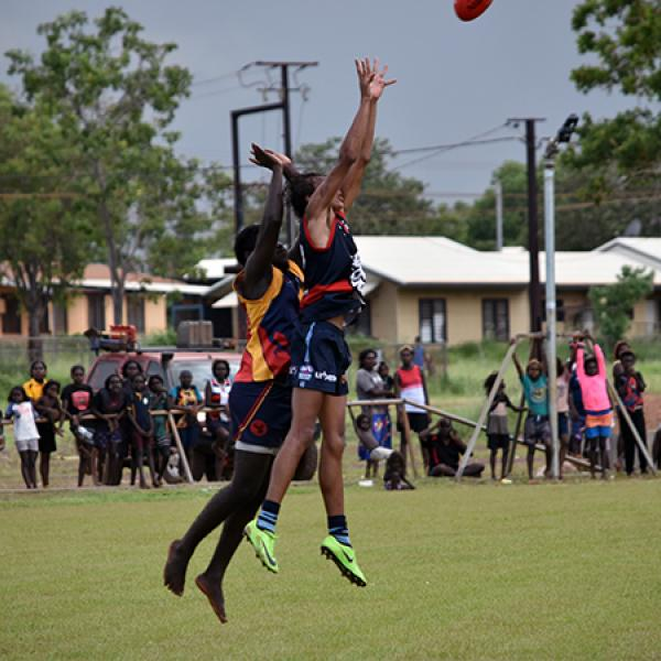 Adam Sambono marks and goals for the Bulldogs in Wadeye