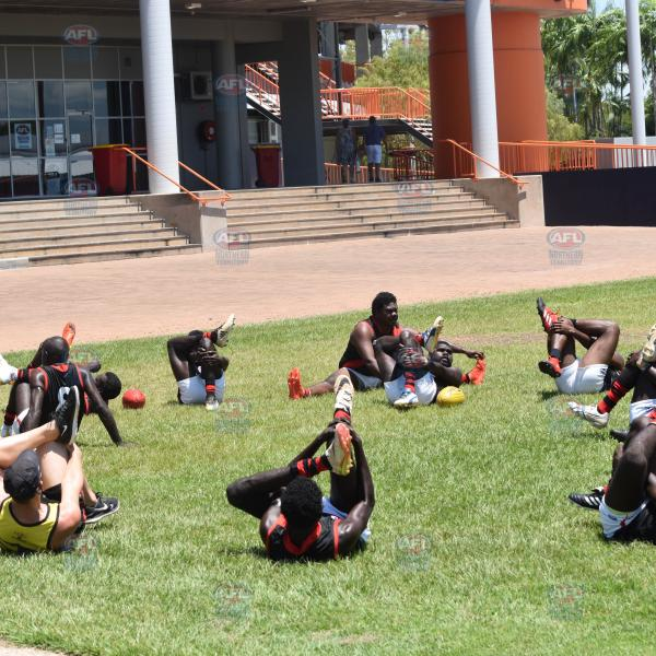 Tiwi Bombers doing their pre-game streches