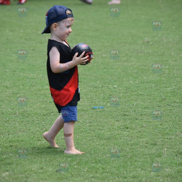 Young Tiwi supporter, playing with the footy