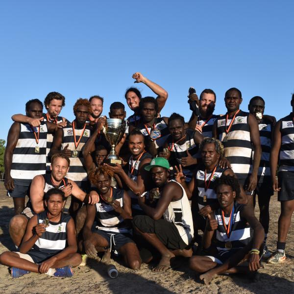 Groote Eylandt Cats celebrating their 2017Grand Final win