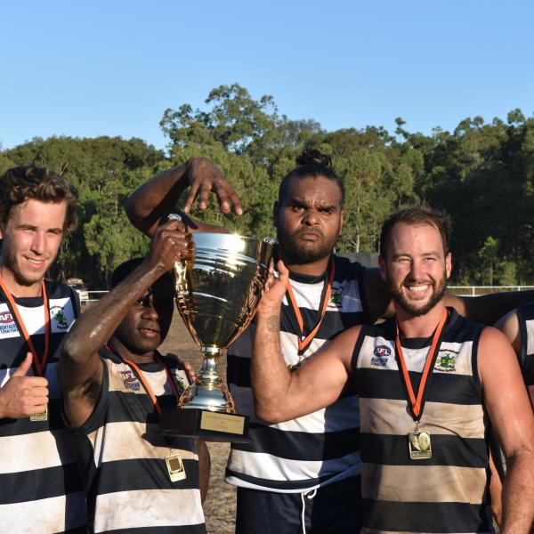 Groote Eylandt Cats players celebrating their 2017 grand final win
