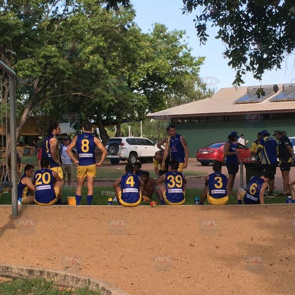 Wanderers gather at the Nightcliff playground at half time