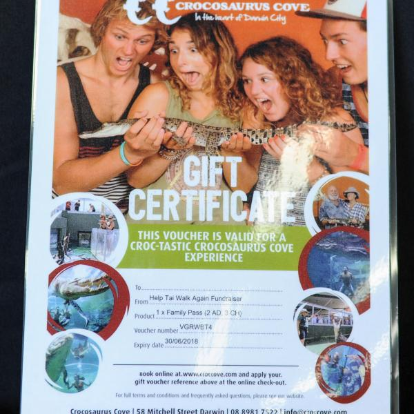 1x family pass  -2  Adults and 3 Children with thanks to Crocosaurus Cove donated by those croc-lovin' people