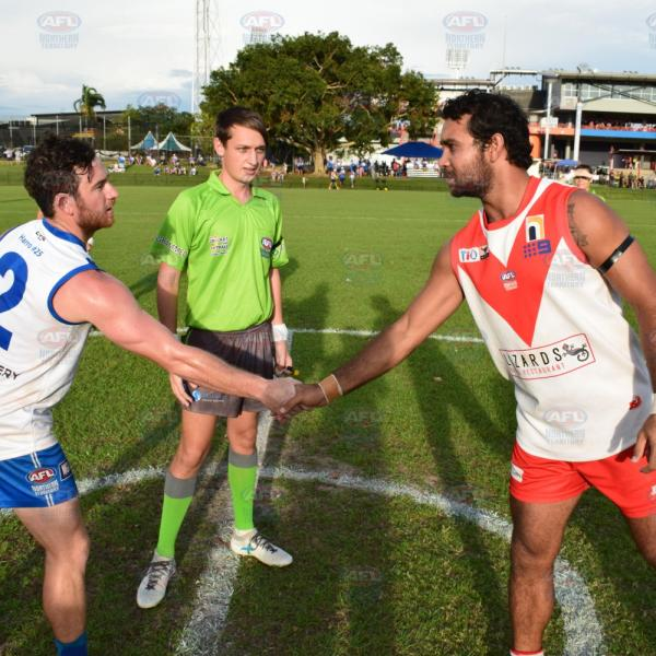 Waratah and Banks captains shaking hands at the Men's Division 1 Grand Final