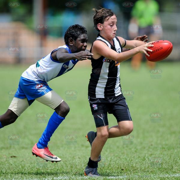 About to kick the ball during the Under 14 Lewfatt Grand Final