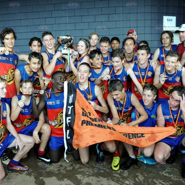Tracy Village having a group shot after they were announced the Under 16 Leverence premiers