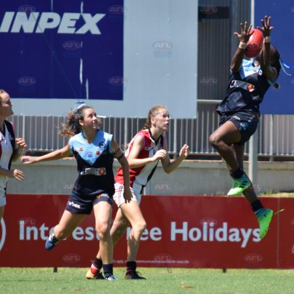 Jumping up for the grab - Under 18 Girls Grand Final