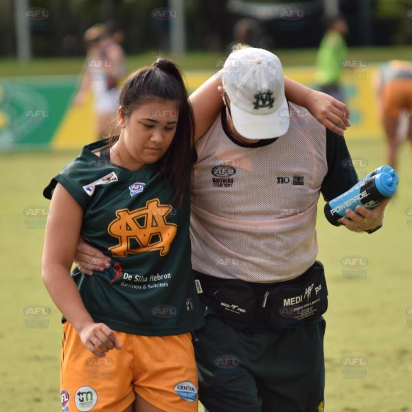 Being helped off the field