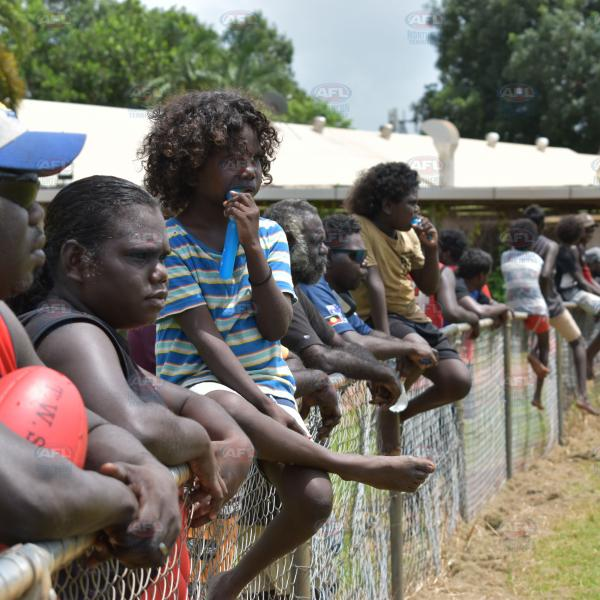 Locals watching footy on the Tiwi Islands