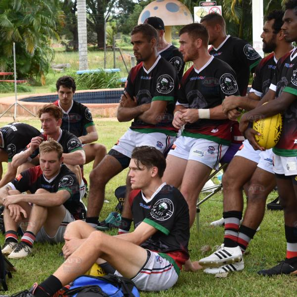 Southern District players pre-game on the Tiwi Islands