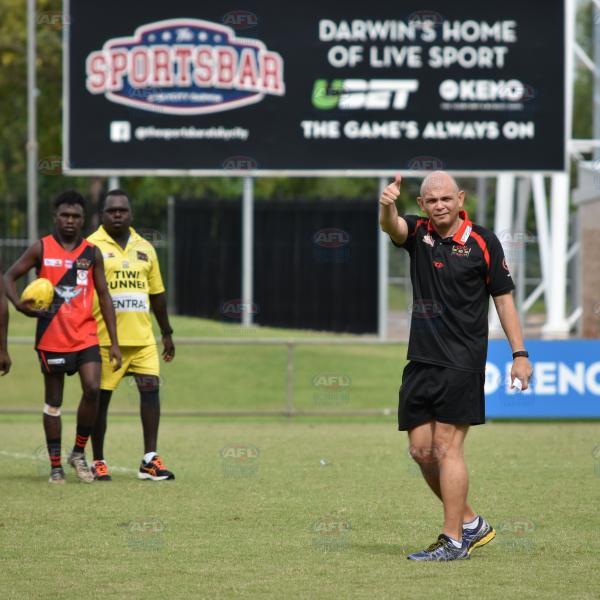 A thumbs up from Tiwi Bombers coach, Brenton Toy