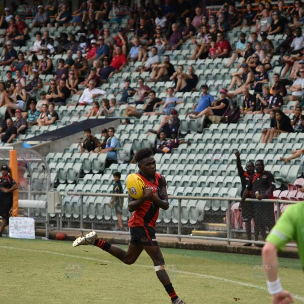 Taking the mark in front of the Maurice Rioli grandstand