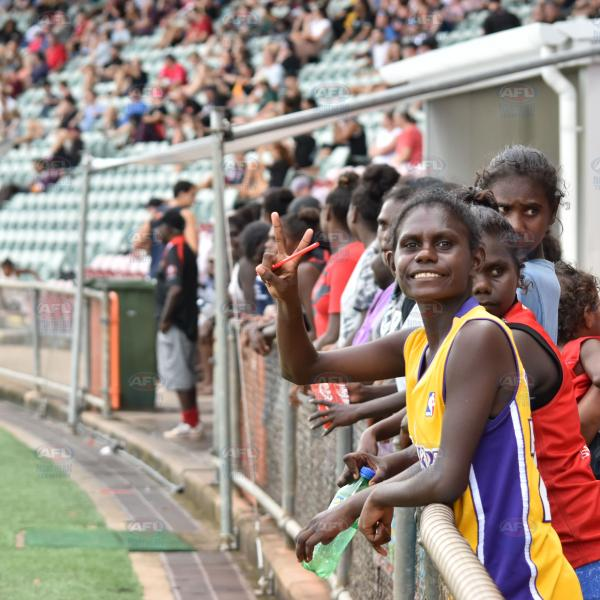 Tiwi Bombers supporters eagerly watching the Men's Premier League Elimination Final