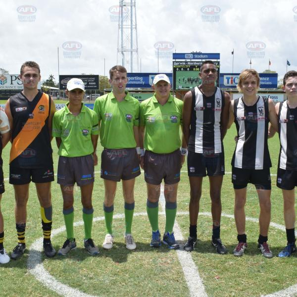 A quick snap with the umpires before the game - Under 16 Hickman Grand Final