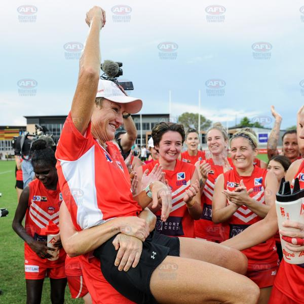 Tahs Coach, Colleen Gwynne, celebrating their Women's Premier League win