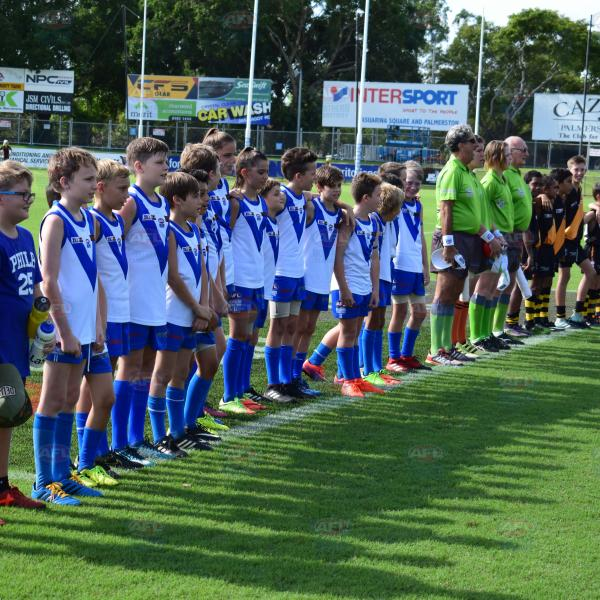 Lining up for the National Anthem - Under 12 Deslandes Grand Final