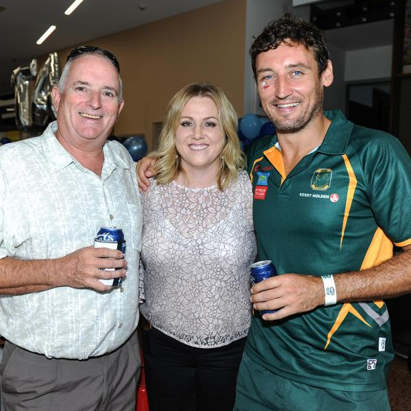 AFLNT Chairman Ross Coburn, along with Liz Cruse and St Mary's vice president Peter MacFarlane