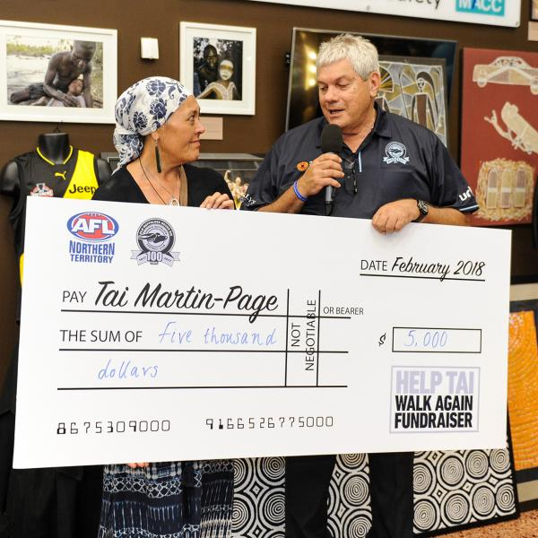 A $5,000 cheque from the Darwin Buffaloes
