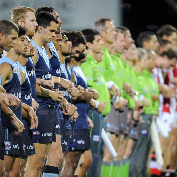 Lining up for the National Anthem - Men's Premier League Grand Final