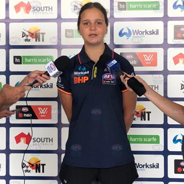 Danielle Ponter talks to media